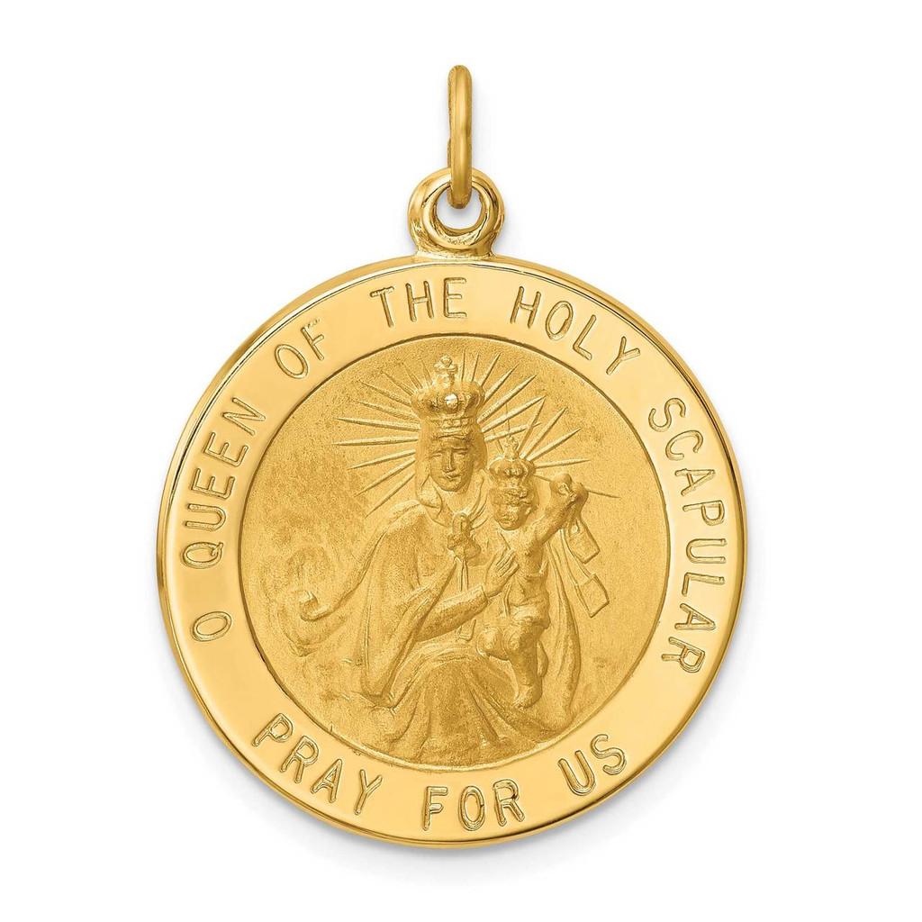 14k Gold Solid Polished Satin Large Queen of Holy Scapular Reversible Medal, MPN: XR1778, UPC: