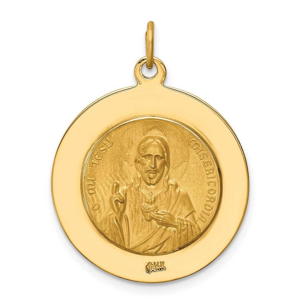 Large Queen of Holy Scapular Reversible Medal 14k Gold Solid Polished Satin XR1778