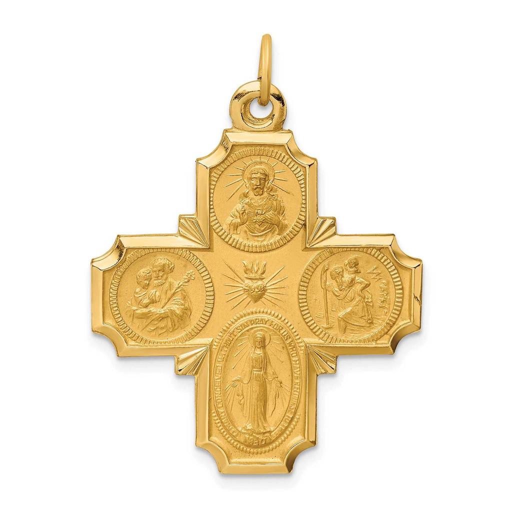 14k Gold Solid Polished Satin Large 4-Way Medal, MPN: XR1780, UPC: