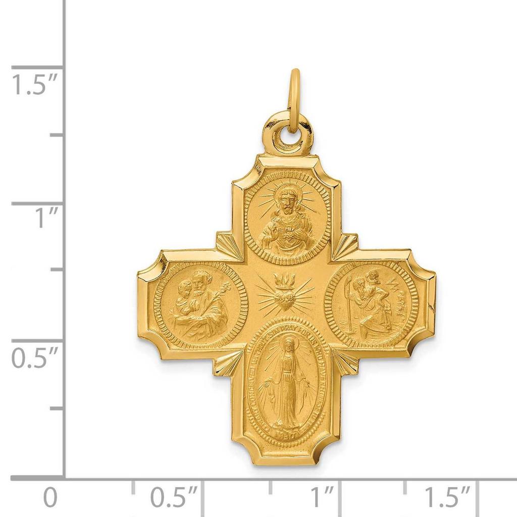 Large 4-Way Medal 14k Gold Solid Polished Satin XR1780