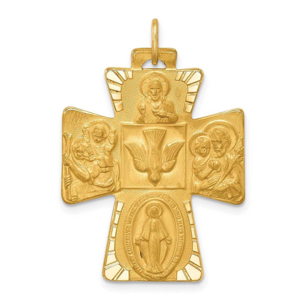 14k Gold Solid Polished Satin Large 4-Way Medal Cross, MPN: XR1781, UPC:
