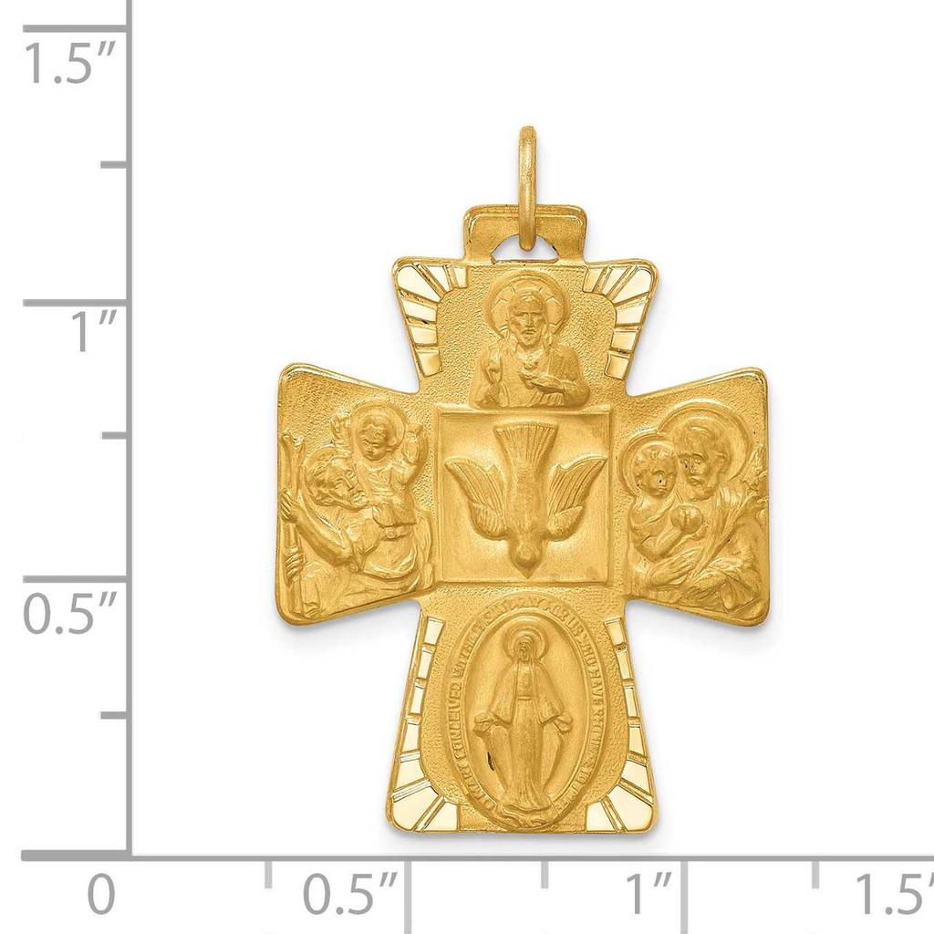 Large 4-Way Medal Cross 14k Gold Solid Polished Satin XR1781