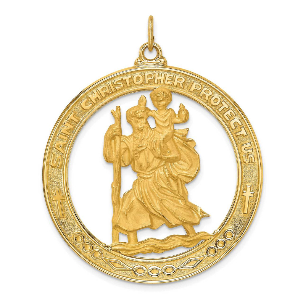 14k Gold Solid Polished Satin Extra Large Cut-out St. Christopher Medal, MPN: XR1796, UPC: