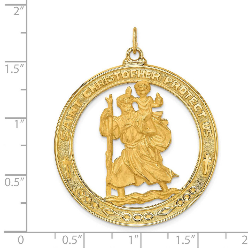 Extra Large Cut-out St. Christopher Medal 14k Gold Solid Polished Satin XR1796