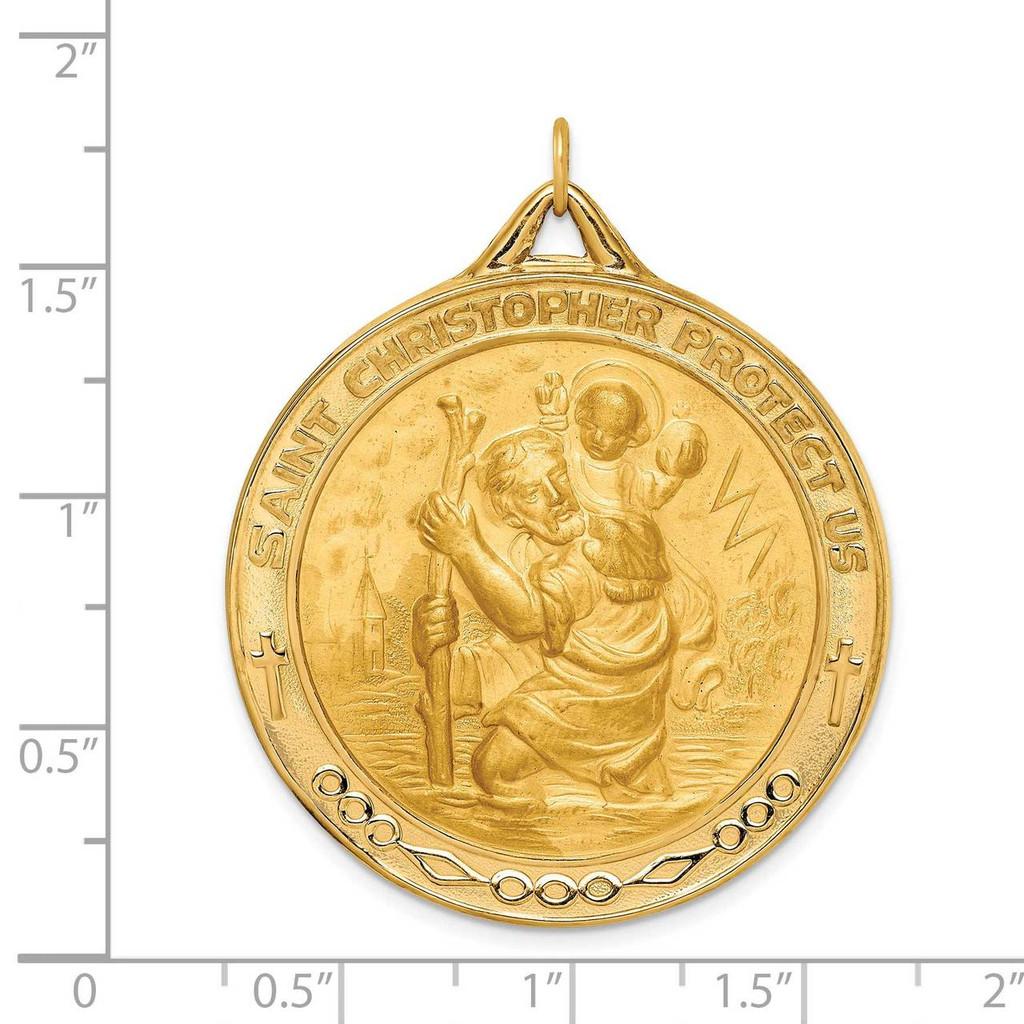 Extra Large Round St. Christopher Medal 14k Gold Solid Polished Satin XR1799