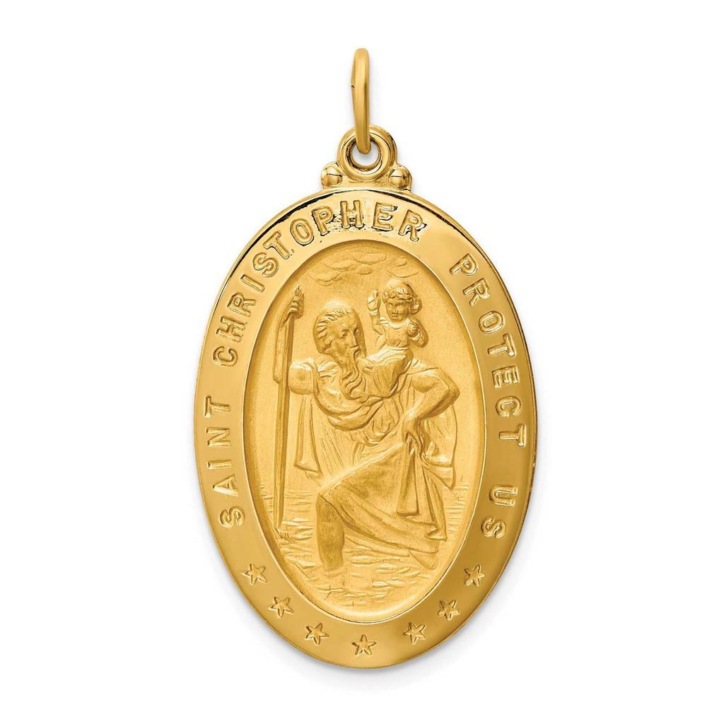 14k Gold Solid Polished Satin Large Oval St. Christopher Medal, MPN: XR1804, UPC: