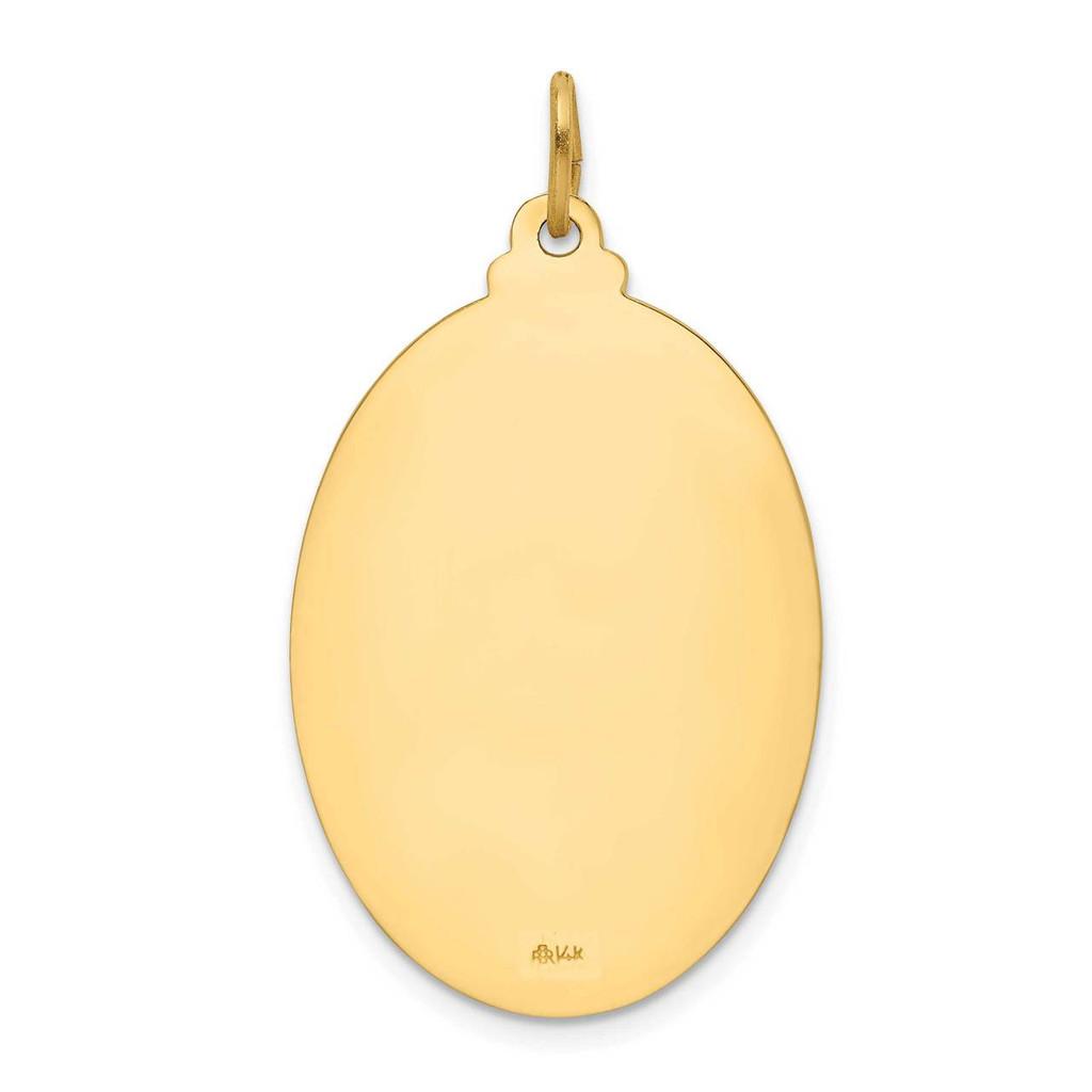Large Oval St. Christopher Medal 14k Gold Solid Polished Satin XR1804