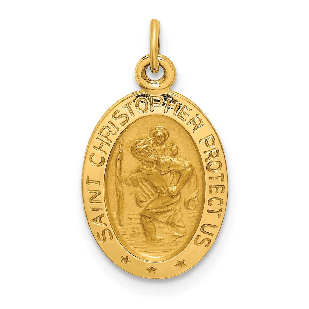 14k Gold Solid Polished Satin Extra Small Oval St. Christopher Medal, MPN: XR1806, UPC:
