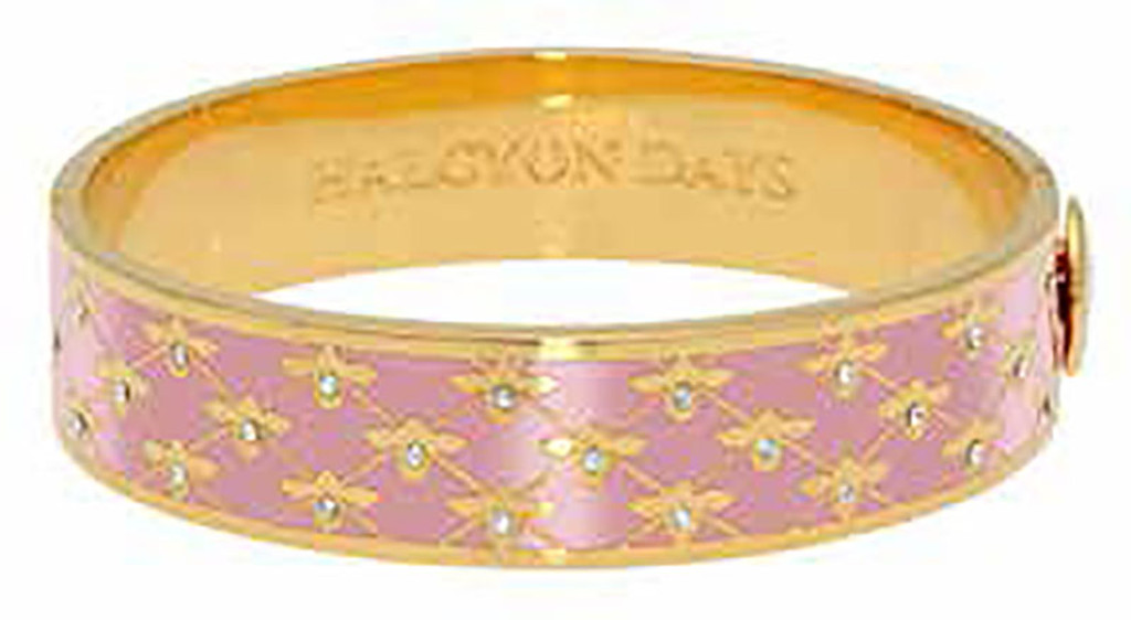 Halcyon Days 13mm Bee Sparkle Trellis Pink Gold Hinged Bangle, MPN: HBBES2613G
