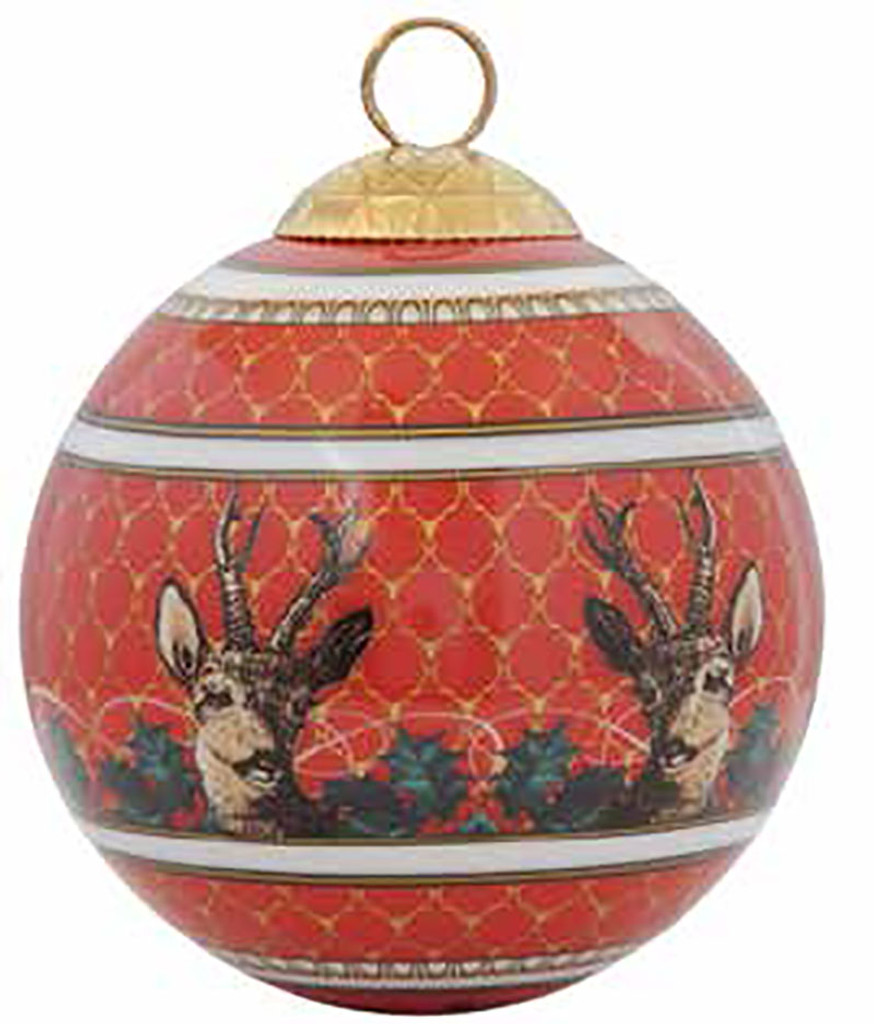 Halcyon Days GC Antler Trellis & Stag Red Bauble Ornament, MPN: BCGAS06XBN