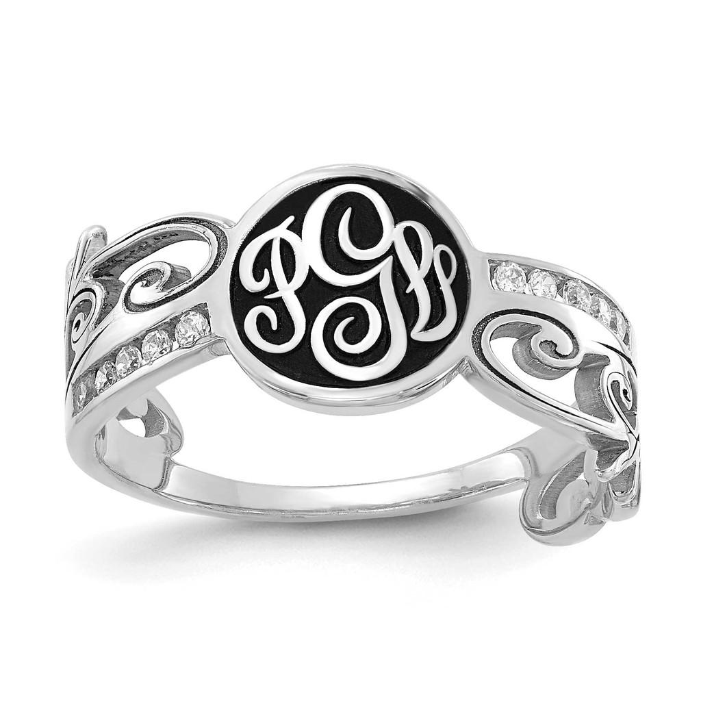 14k White Gold Monogram Diamond Ring with Antiquing, MPN: XNR94W, UPC: