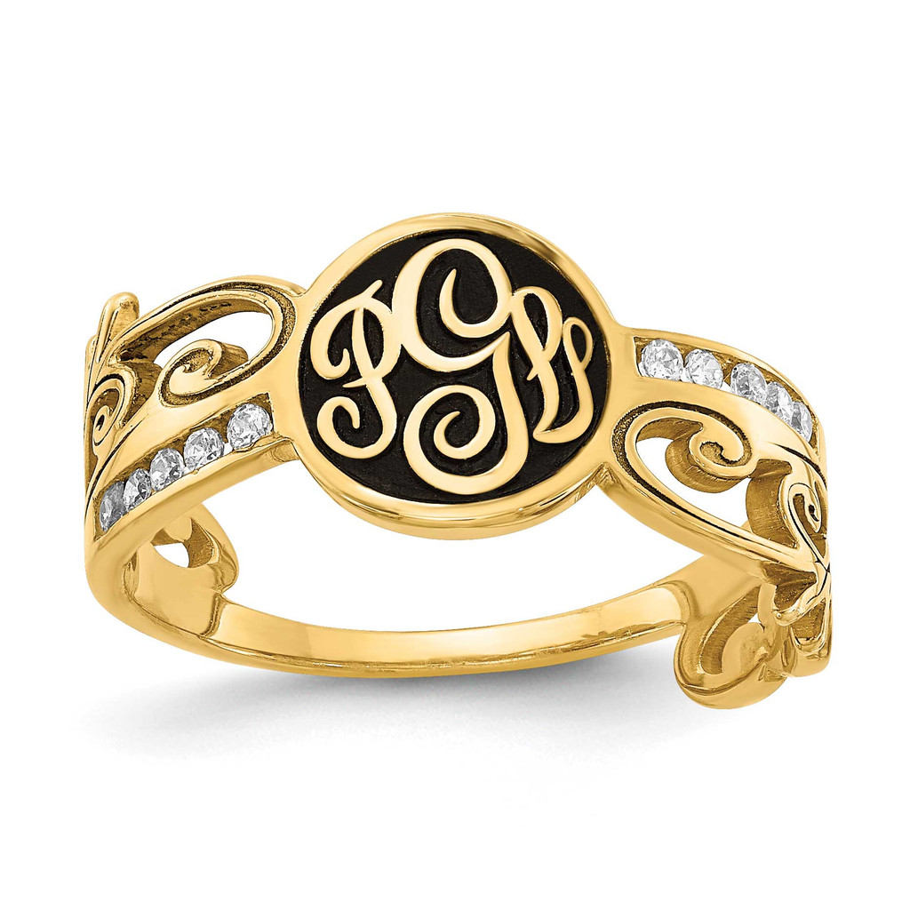 14k Gold Monogram Diamond Ring with Antiquing, MPN: XNR94Y, UPC: