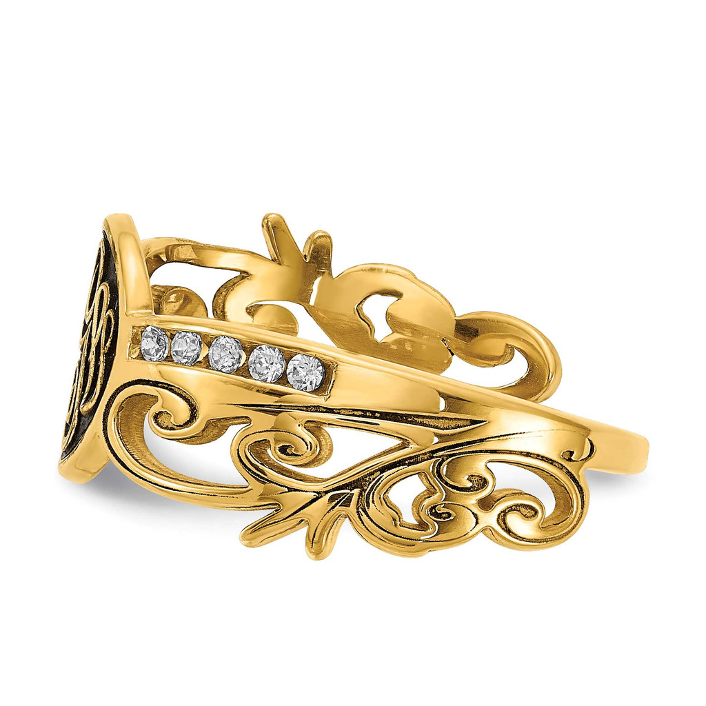 Monogram Diamond Ring with Antiquing 14k Gold XNR94Y