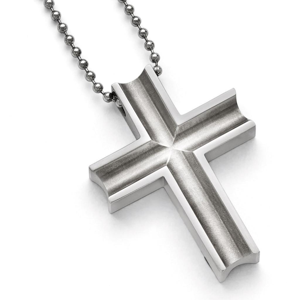 Chisel Polished Cross Necklace - Titanium TBN154