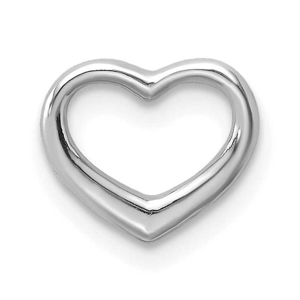 Mini Floating Heart Slide 10k White Gold Polished, MPN: 10K7108W, UPC: