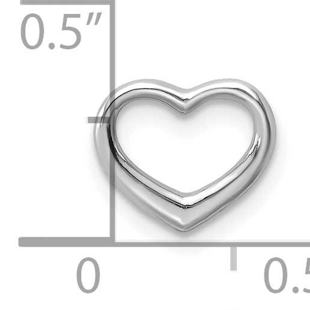 Mini Floating Heart Slide 10k White Gold Polished 10K7108W
