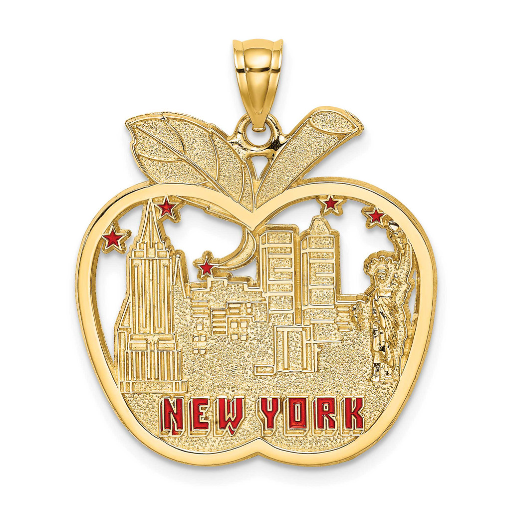 Red Enamel Apple New York Skyline Charm 14k Gold, MPN: K6695, UPC: 637218107940