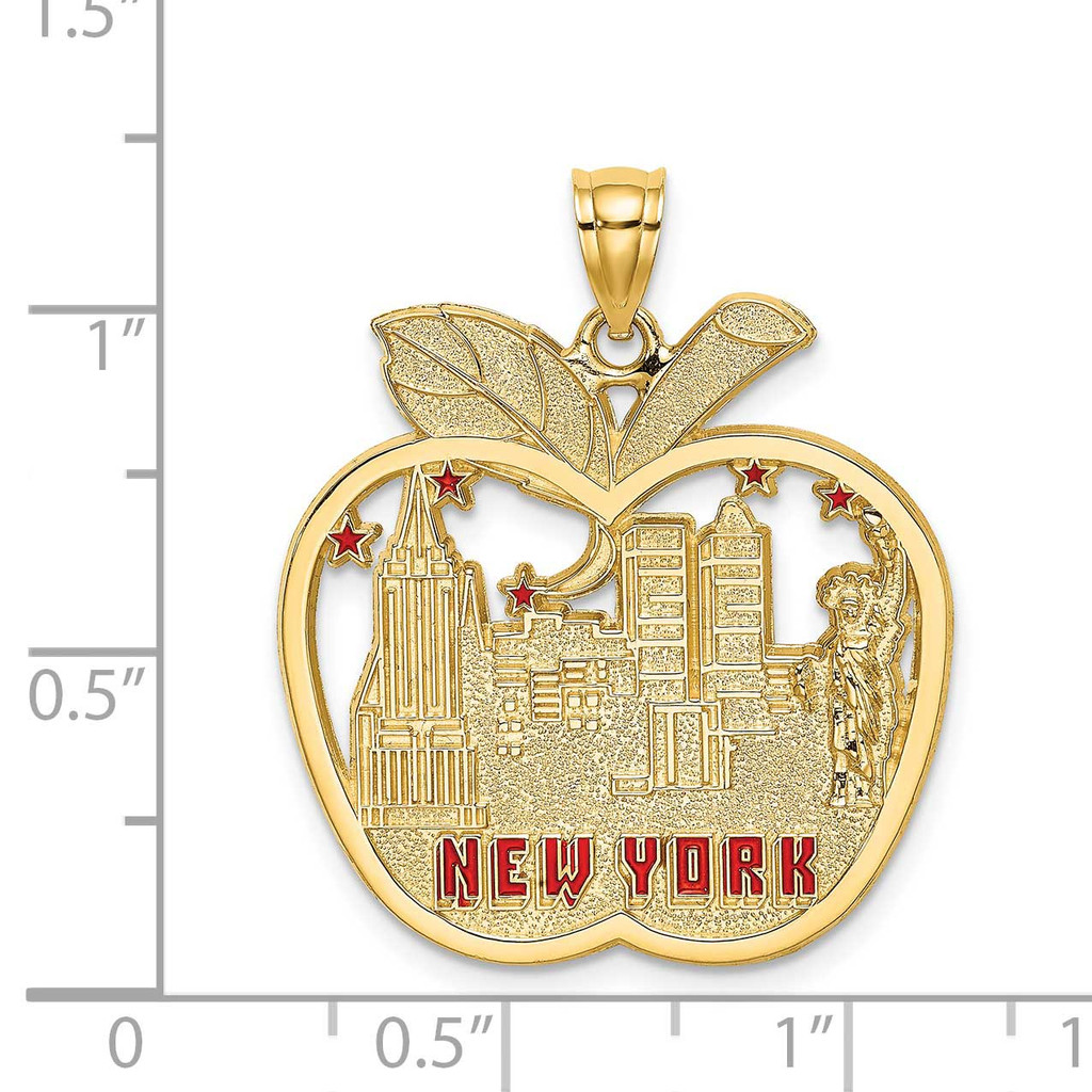 Red Enamel Apple New York Skyline Charm 14k Gold K6695