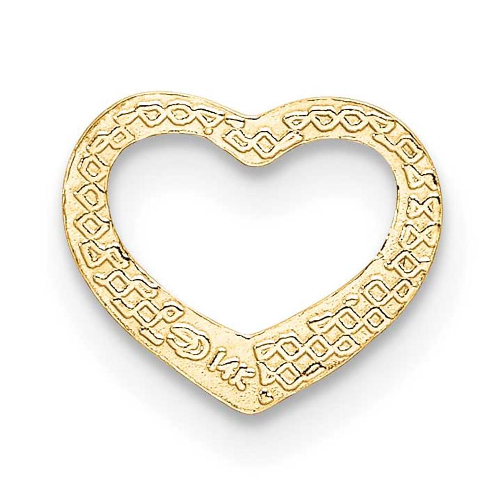 Mini Floating Heart Slide 14k Gold Polished K7108