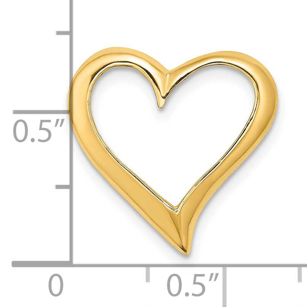 Large Floating Heart Slide 14k Gold 2-D K7116