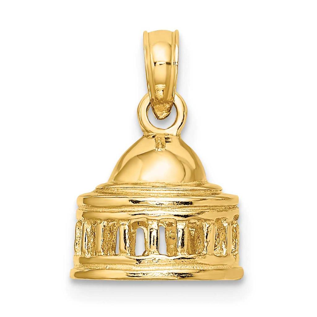 Jefferson Memorial Building Washington D.C. Charm 14k Gold 3-D K7246
