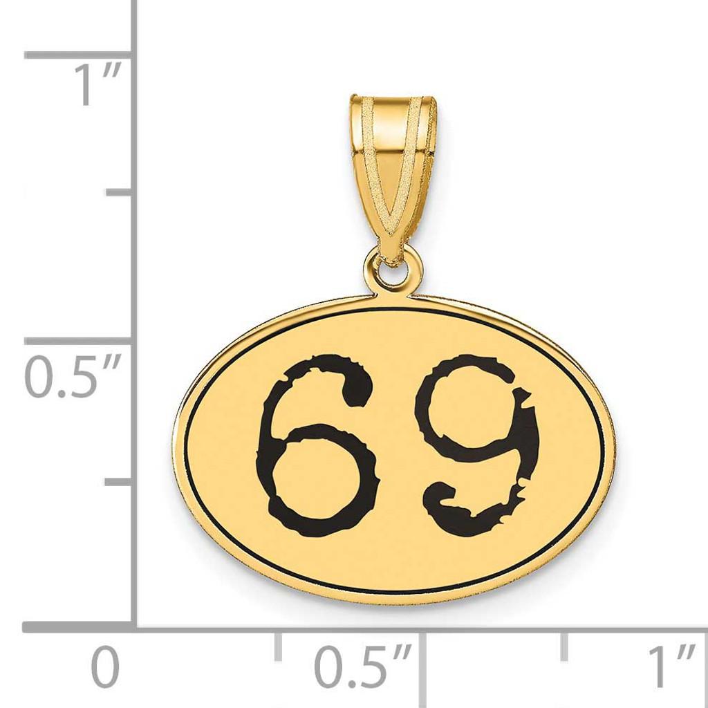 Number 69 Black Epoxy Oval Pendant 14k Gold Polished OEN69