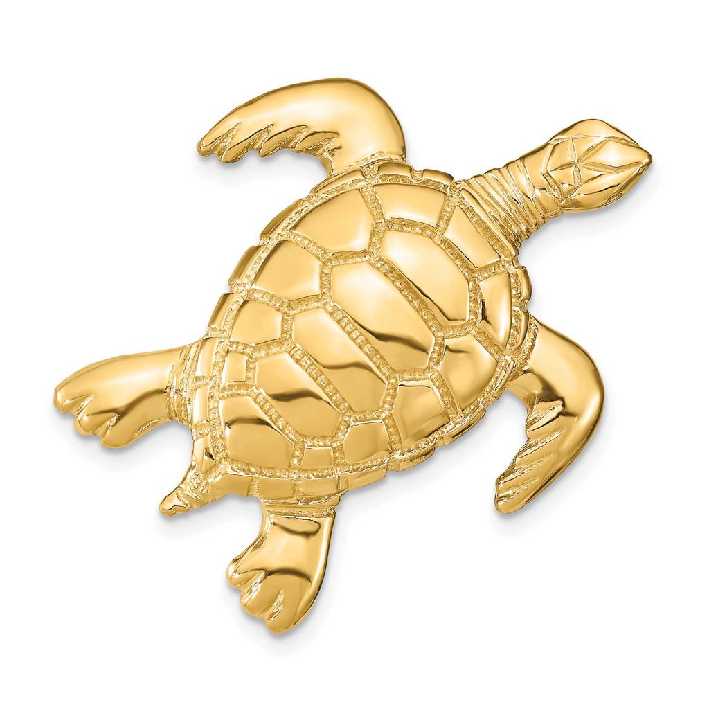 2-D Sea Turtle Slide 14k Gold Polished, MPN: SL619, UPC: 63721806047