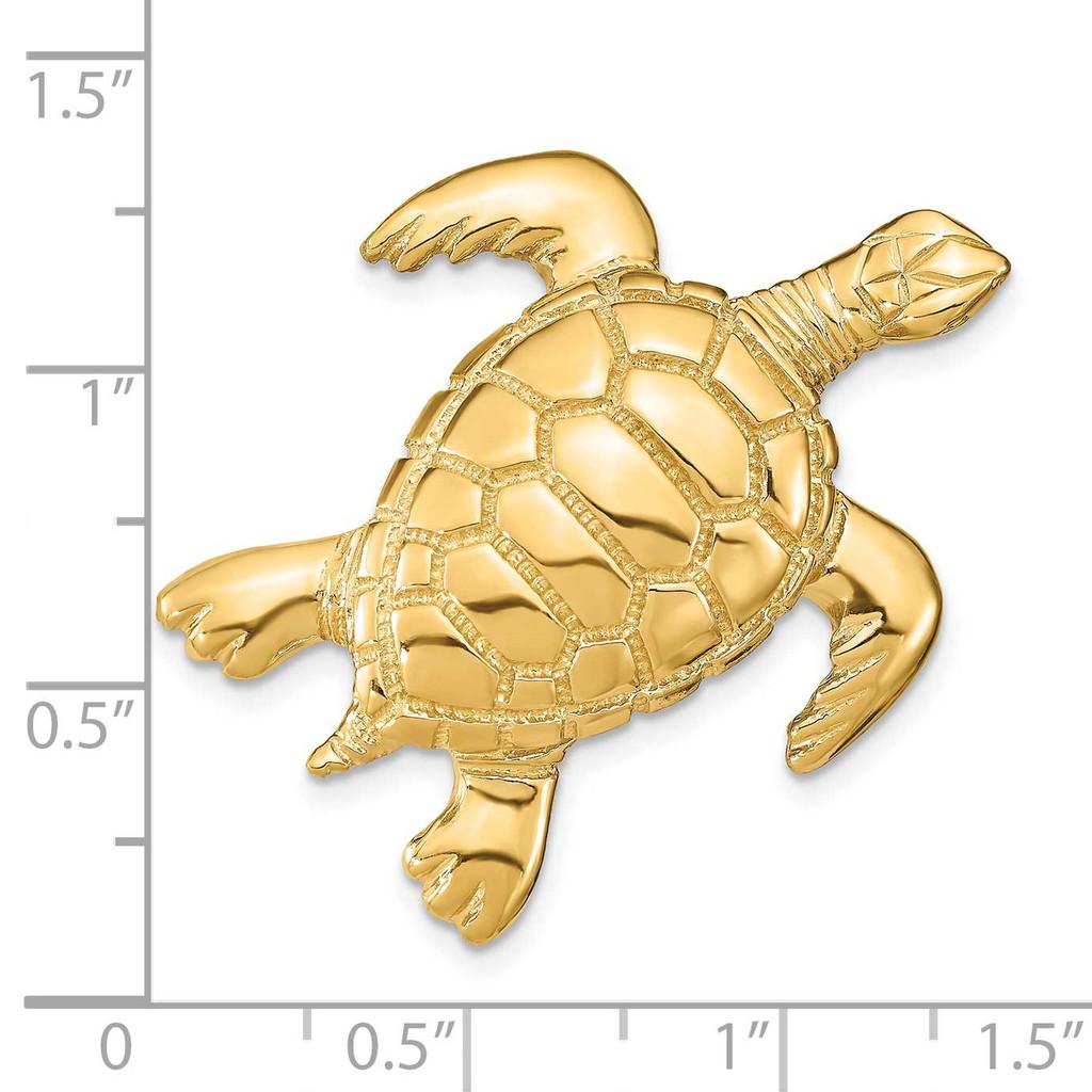 2-D Sea Turtle Slide 14k Gold Polished SL619