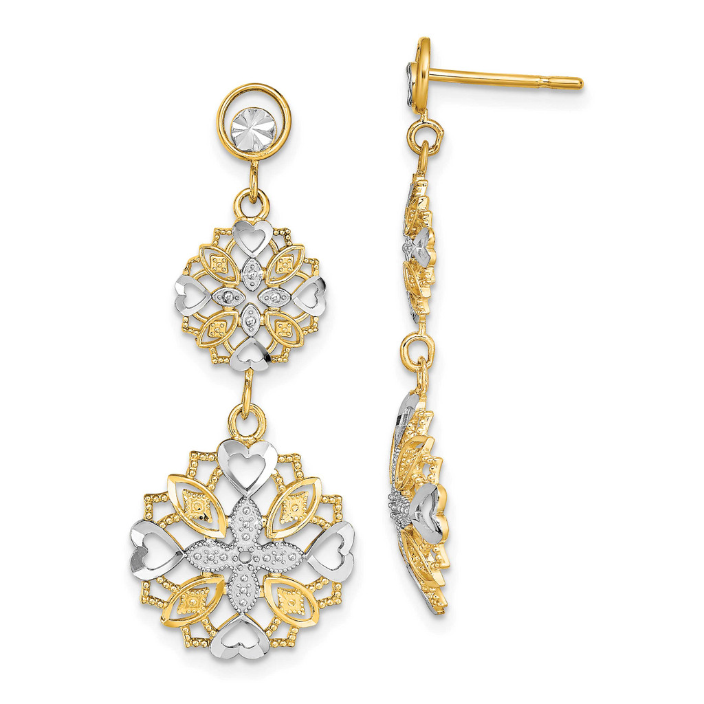 Flower Heart Dangle Earrings 14k Gold Rhodium Diamond-cut, MPN: TE918, UPC: 63721811058