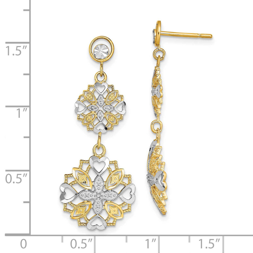 Flower Heart Dangle Earrings 14k Gold Rhodium Diamond-cut TE918
