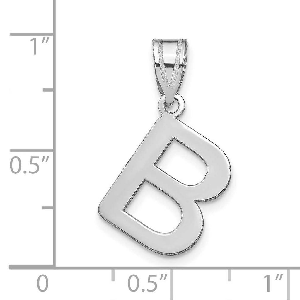 Bubble Letter B Initial Pendant 14k White Gold Polished YC1441WB