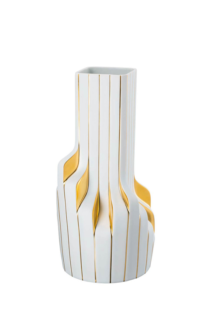 Rosenthal Strip White - Gold - Zaha Hadid Vase, MPN: 14489-426275-26040, UPC: 790955139169, Size: 15 3/4 Inchch.