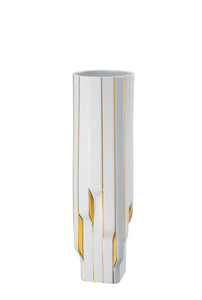 Rosenthal Strip White - Gold - Zaha Hadid Vase, MPN: 14489-426275-26045, UPC: 790955139176, Size: 17 3/4 Inchch.