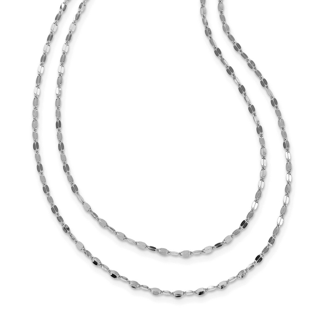 Leslie's Sterling Silver Rhodium-plated Polished Double-strand Necklace, MPN: QLF1196-18, UPC: