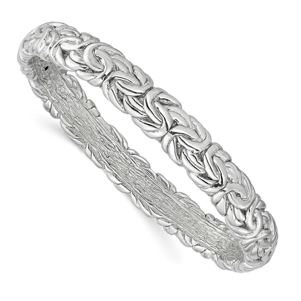 Leslie's Sterling Silver Rhodium-plated Byzantine Bangle, MPN: QLF1201, UPC: