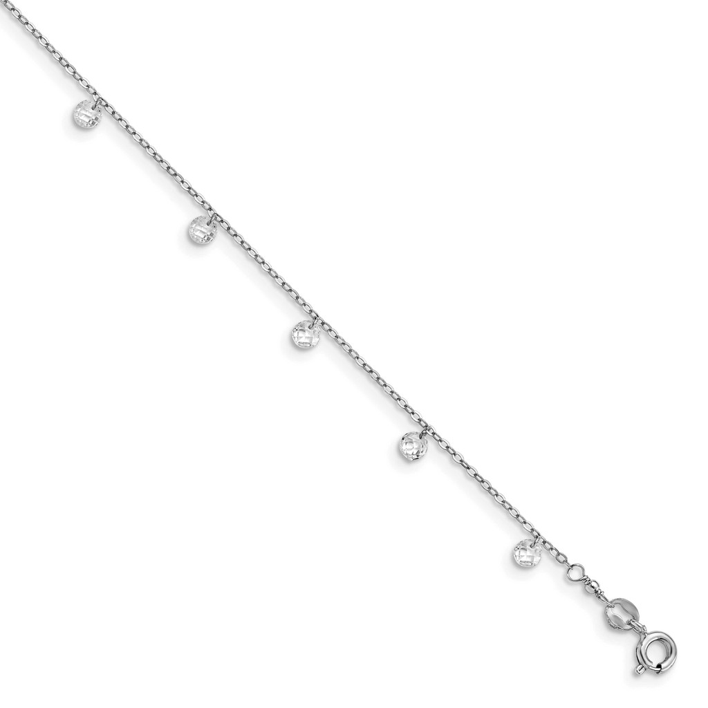 Leslie's Sterling Silver Rhodium-plated Crystal 1.25 in Extender Anklet, MPN: QLF1203-9, UPC:
