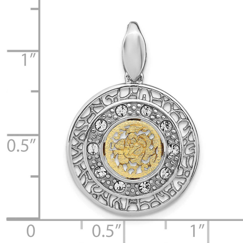 Gold-tone Crystal Pendant Sterling Silver Rhodium-plated QLF1204