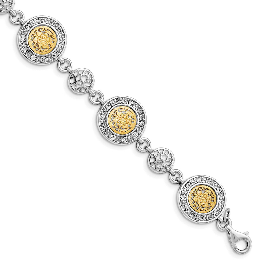 Leslie's Sterling Silver Rhodium-plated Gold-tone Crystal 1in Extender Bracelet, MPN: QLF1205-7, UPC:
