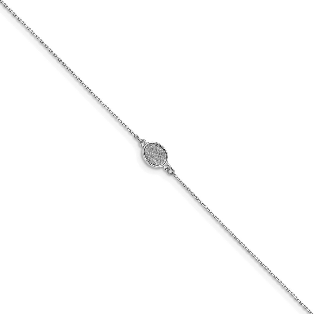 Leslie's Sterling Silver Rhodium-plated Glitter-infused 1in Extender Anklet, MPN: QLF1206-9, UPC: