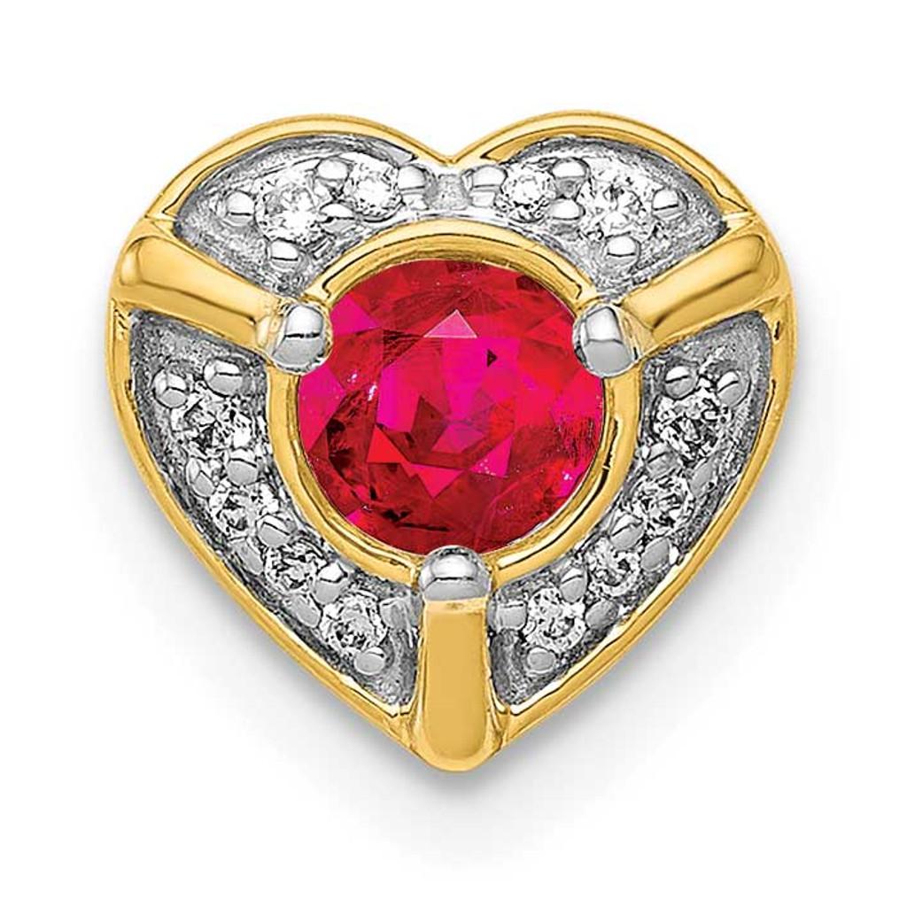 .25 Ruby Fancy Heart Chain Slide 14k Gold Diamond MPN: PM3921-RU-005-YA UPC: