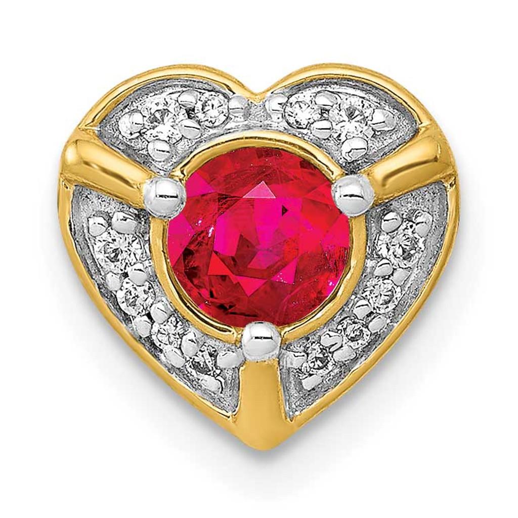 .33 Ruby Fancy Heart Chain Slide 14k Gold Diamond MPN: PM3921-RU-007-YA UPC:
