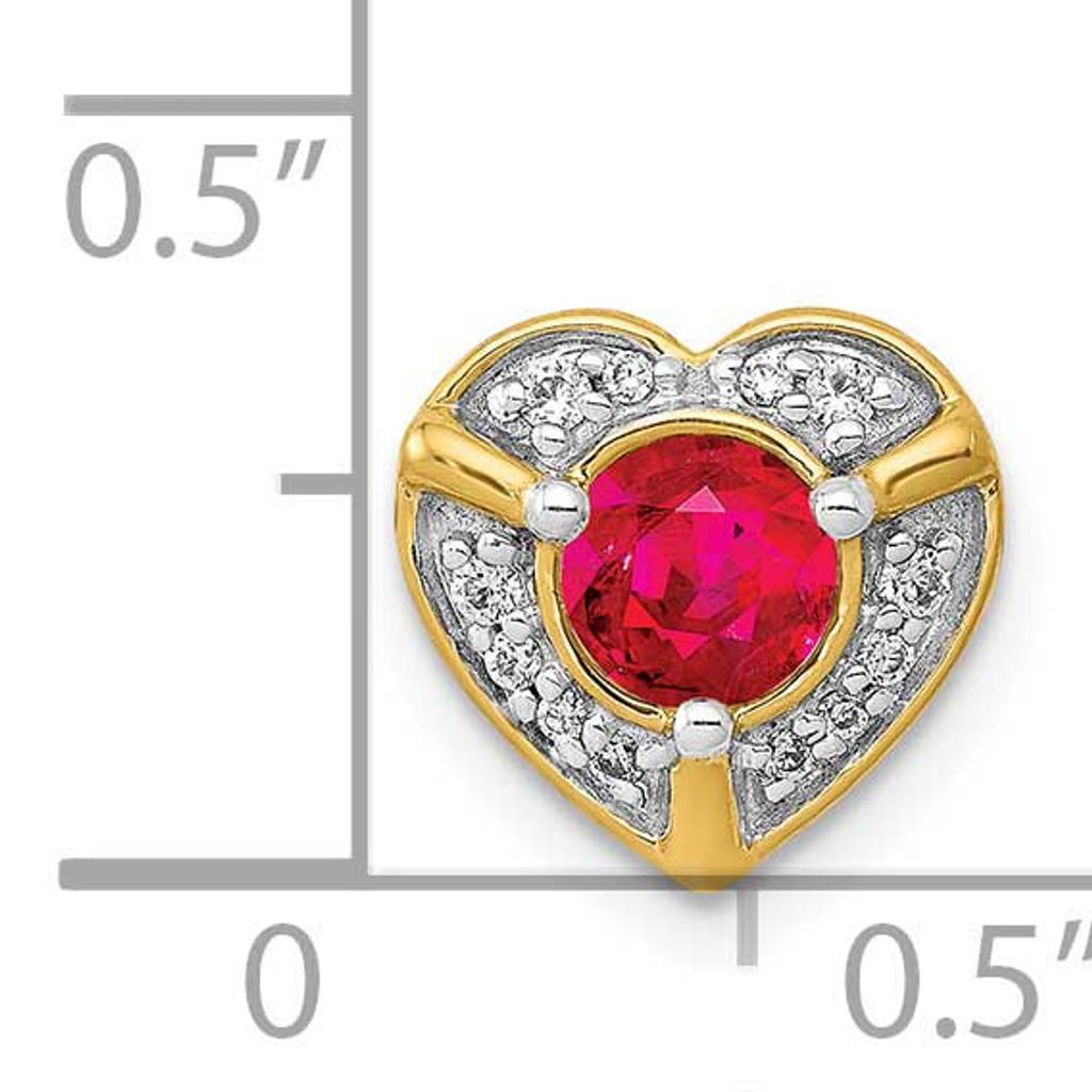 .33 Ruby Fancy Heart Chain Slide 14k Gold Diamond PM3921-RU-007-YA
