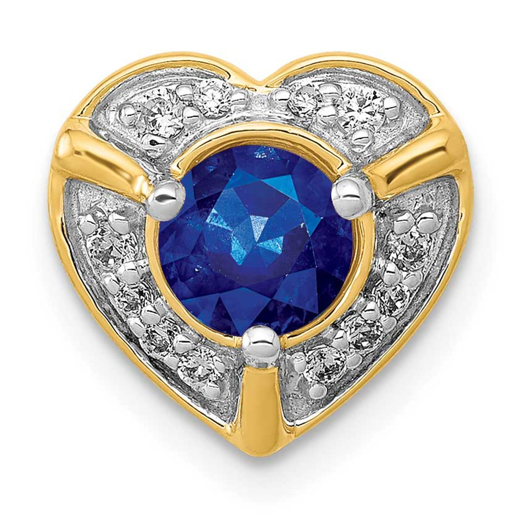 .50 Sapphire Fancy Heart Chain Slide 14k Gold Diamond MPN: PM3921-SA-011-YA UPC:
