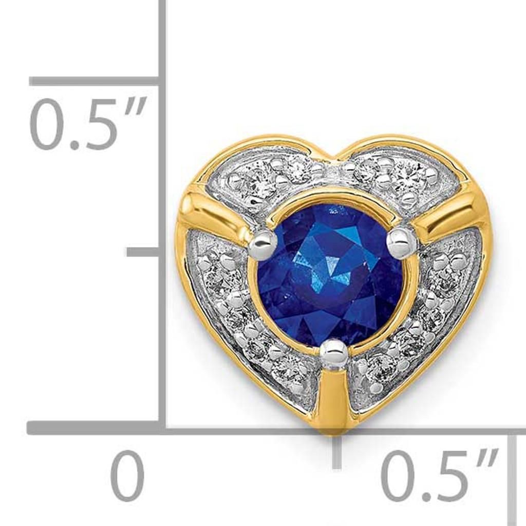 .50 Sapphire Fancy Heart Chain Slide 14k Gold Diamond PM3921-SA-011-YA