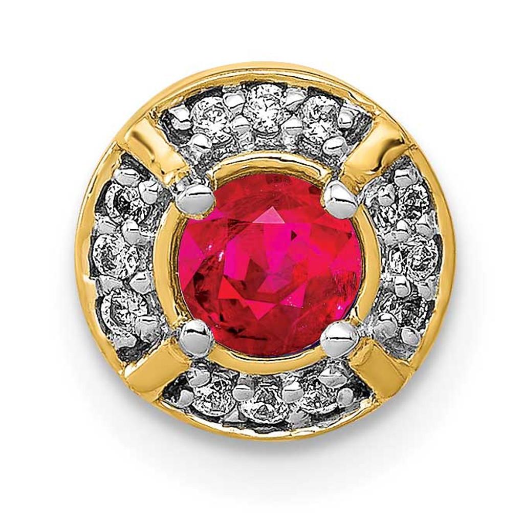 .25 Ruby Fancy Round Chain Slide 14k Gold Diamond MPN: PM3922-RU-007-YA UPC: