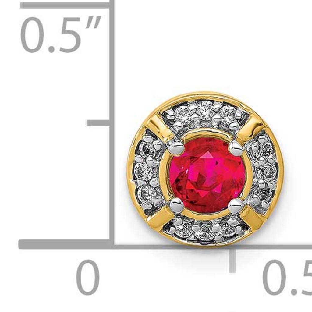 .25 Ruby Fancy Round Chain Slide 14k Gold Diamond PM3922-RU-007-YA