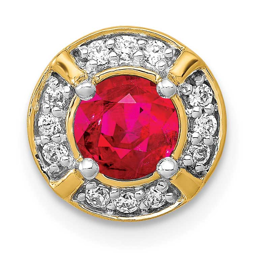.50 Ruby Fancy Round Chain Slide 14k Gold Diamond MPN: PM3922-RU-012-YA UPC: