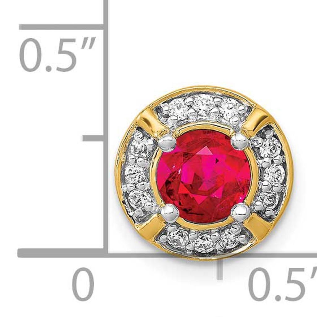 .50 Ruby Fancy Round Chain Slide 14k Gold Diamond PM3922-RU-012-YA