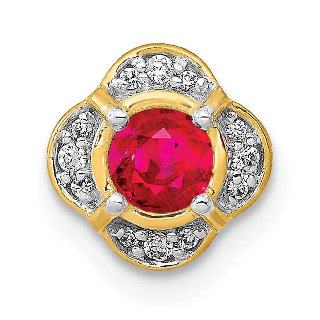 .25 Ruby Fancy Chain Slide 14k Gold Diamond MPN: PM3923-RU-005-YA UPC: