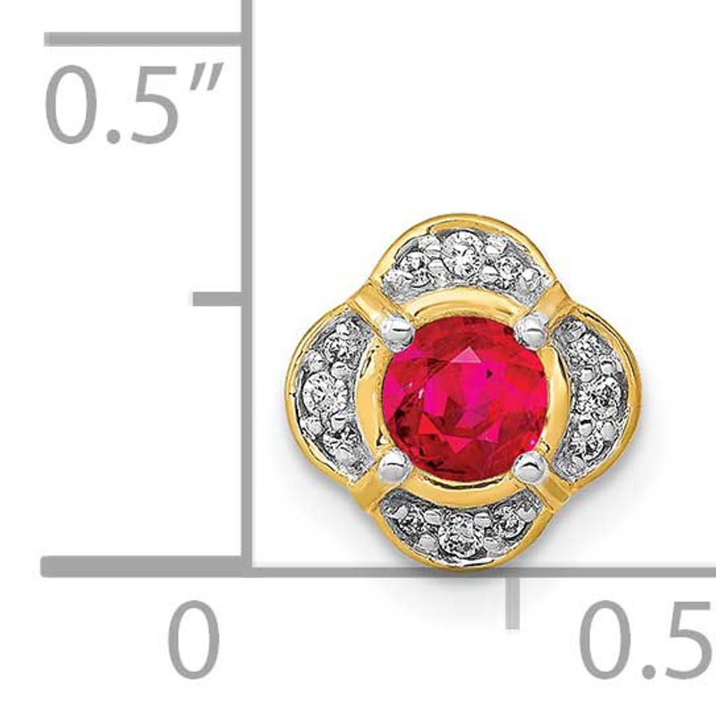 .25 Ruby Fancy Chain Slide 14k Gold Diamond PM3923-RU-005-YA